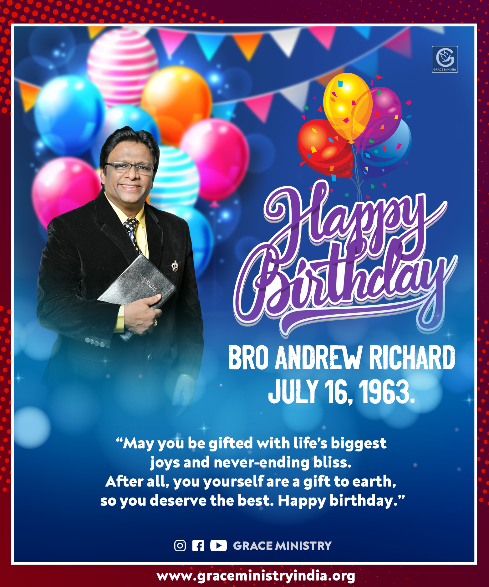 Prophetic Preacher Bro Andrew Richard turns 58 on Thursday, 2020, with a myriad of wishes from family members, other Christian leaders, and devotees. Happy Birthday Bro Andrew Richard.