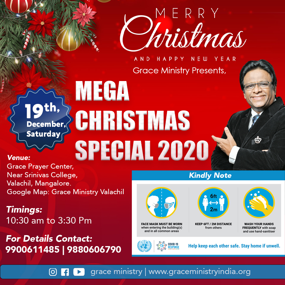 This Christmas 2020 Join with Grace Ministry for Service and celebrations at Prayer Center, Valachil, Mangalore on 19th Saturday. Together, let's celebrate the message of Christmas.