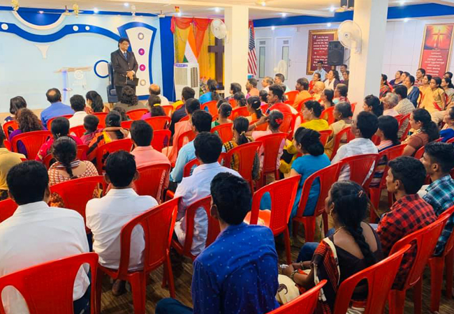 Hundreds gathered to the Rev Dr Bro Andrew Richard's Blessing prayer organised by Grace Ministry at its prayer centre in Balmatta, Mangalore here on Friday 13th, 2019.