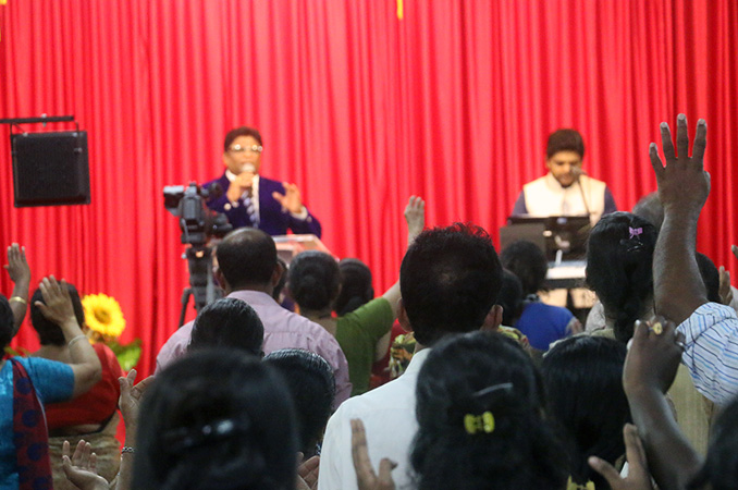 People thronged into the Night Vigil held at Prayer center by Grace Minstry in Mangalore here on Sep 2, 2017. Many received countless miracles, healing, and deliverance.