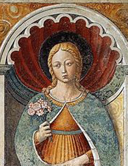"St Fina the Daughter of Cambio Ciardi and Imperiera was born in San Gimignano in 1238, Her family was declined noble family, she lived all her existence in a humble house located in ""city of beautiful towers""."