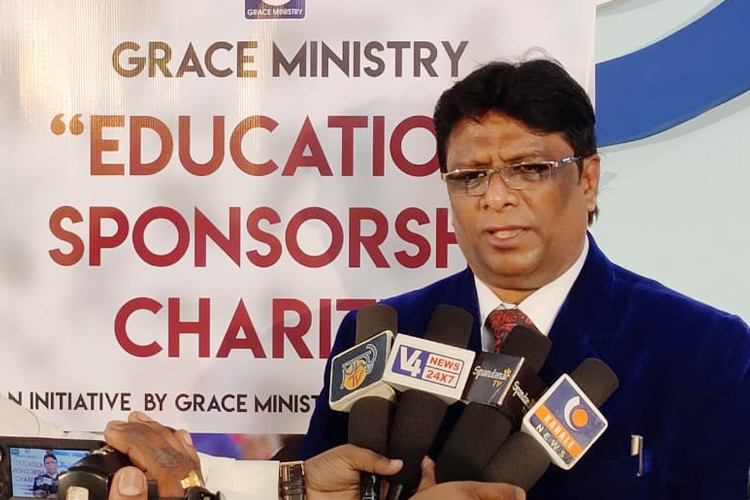 Grace Ministry, Bro Andrew Richard contributed 50 poor students free education scholarship at its centre on account of Christmas season in Mangalore here on Dec 15th, Sunday, 2019.