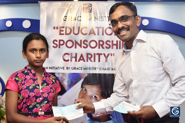 Grace Ministry Inaugurates Free Monthly Education scholarship for 25 needy and poor students at Prayer Center, Mangalore here on Sunday, April 14.