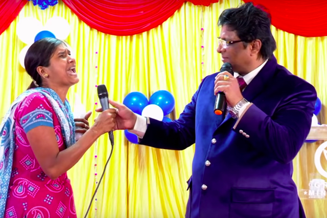 Demon possessed for Twenty Years (20) years receives complete deliverance at Grace Ministry Bangalore prayer lead by Bro Andrew Richard. The evil spirits were beaten and destroyed by the blood of Jesus.
