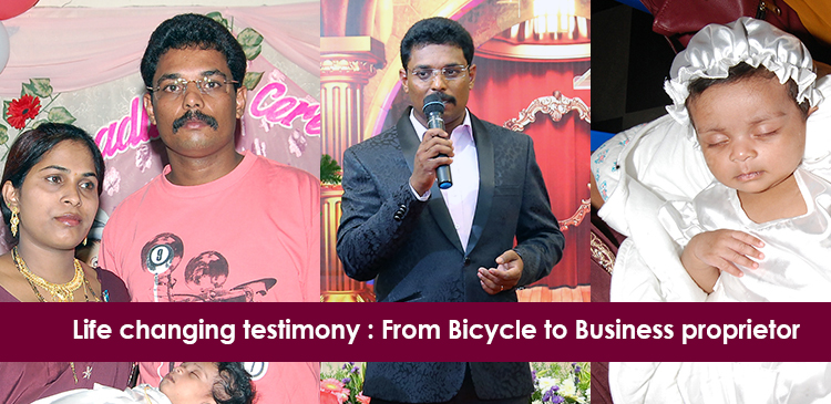 Life changing testimony of a downtrodden man who came on a bicycle at once to Grace ministry in Mangalore now owns a Travel agency of his own.